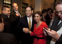 Sen. Marco Rubio, R-Fla. is greeted at the Latino Coalition annual economic summit.