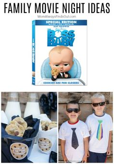 The Boss Baby movie is hilarious and a perfect pick for your next family movie night. These fun Boss Baby themed ideas for a DIY necktie T-shirt craft for kids, mini chocolate chip cookies recipe and a free printable! #LikeABossBaby #sponsored