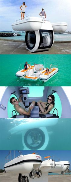 Boat with integrated submarine. Boat with integrated submarine. Submarine - Computer, Gadgets und Geek - Autos Diy Tech, Cool Tech, Futuristic Technology, Water Toys, Cool Inventions, Pinterest Diy, Water Crafts, Pretty Cool, Vacation