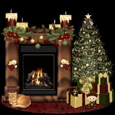 fireplace gif | Brenda's PSP Designs and Tuts: FREEBIE ANIMATED CHRISTMAS FIREPLACES