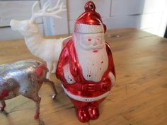 Hard Plastic Vintage 50s Ornaments, Santa Reindeer by OurVintageHouse on Etsy