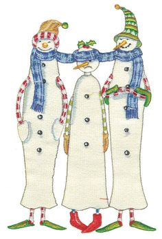 Shoply.com -Lollystick Three Snowmen  Machine Embroidery Design in 4 sizes. Only $3.99
