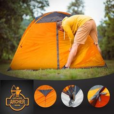 Archer Outdoor Gear 1 Man #Camping & Backpacking #Tent Ultralight #Spacious & Waterproof! Enjoy privacy and comfort on your next outdoor #backpacking camp trip with this #lightweight compact but spacious one-man tent. See images below. It measures 210 cm