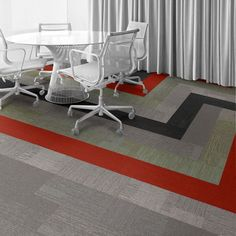 Interface Floor Design                                                  | Verticals: Zenith, Verticals: Soar, Verticals: Meridian, Verticals: Vertex, On Line: Orange |                                                  Find inspiration for your next interior design project with floors composed of modular carpet tiles from Interface