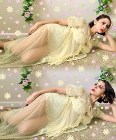 Fever Dream Boutique ~ Sheer Yellow 1960s Peignoir with Puffy Sleeves and Ruffles layered over 90s Victoria's Secret Babydoll Rose Floral Goddess Low Cut Teddy Teddie Nightgown Nightwear Sleep Chic Kawaii Fairy Kei Sweet Lolita Pastel Goth