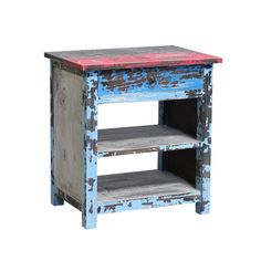 Rustic Bedside Blue Multi - The Importer - Furniture and Homewares
