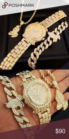 """MEN ICED OUT HIP HOP GOLD PT WATCH & PRAYING HAND MEN ICED OUT HIP HOP GOLD PT WATCH & PRAYING HAND NECKLACE & BRACELET COMBO SET (1) 14k Gold Plated Iced Out Watch  (1) 8.5"""" x 15mm Iced Out Prayer Hands Bracelet  (1) 24"""" x 4mm Rope Chain Prayer Hands Pendant Necklace Accessories Watches"""
