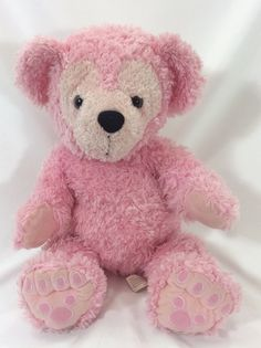 """WDW Disney Pre-duffy Hidden Mickey Bear Pink 17"""" Plush Stuffed Shaggy Rare Tag"""