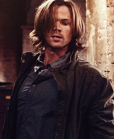 Jared Padalecki as Sam Winchester  That hair though it's like he's a Disney princess.