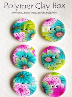 Millifiori polymer clay buttons
