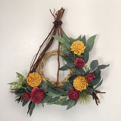 Deathly Hallows Wreath Pick your colors Gryffindor | Etsy