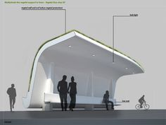 vegetal bus stop by florent prat from france. Vertical and horizontal greenery for the win! Urban Furniture, Street Furniture, Architecture Portfolio, Architecture Design, Architecture Diagrams, Bus Stop Design, Urban Design Concept, Design 3d, Bus Shelters