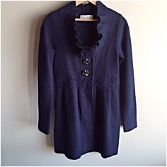 """Charlie & Robin Alice In Autumn Sweatercoat jacket Adorable jacket from Anthropologie in 100% wool. Navy blue. Great condition, very minimal pilling. Measures 17"""" from underarm to underarm and 32"""" long. Anthropologie Jackets & Coats"""