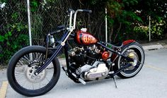 Custom Red Chopper / Bobber Bike