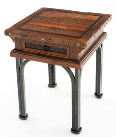 Western End Table or Nightstand, Rustic Wood & Forged Metal | Woodland Creek Furniture