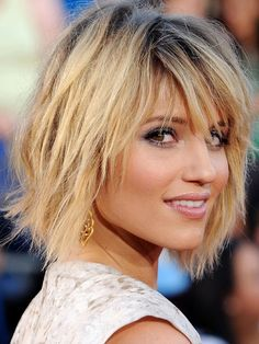 A choppy cut ups theGleestar,Dianna Agron'sappeal as she peeks out from behind lash-sweeping bangs. via @stylelist