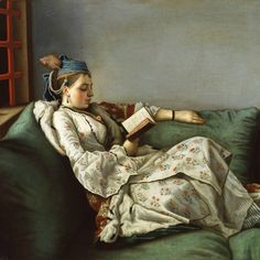 Jean-Etienne Liotard (Swiss artist, Portrait of Maria Adelaide of France in Turkish-style Clothes 1753 Reading Art, Woman Reading, Reading Books, Jig Saw, Turkish Fashion, Turkish Style, Royal Academy Of Arts, France, Madame
