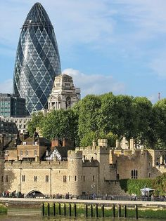 St Mary Axe building (Gherkin) Tower of London