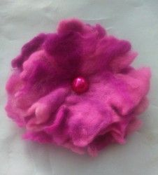 New Listing Started Handmade Wet Felted Flower Brooch Corsage Mixed Pink 4 inches £1.99