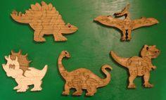 5 Wood puzzles 5 differnt dinosaur hand cut on scroll saw. $35.00, via Etsy.