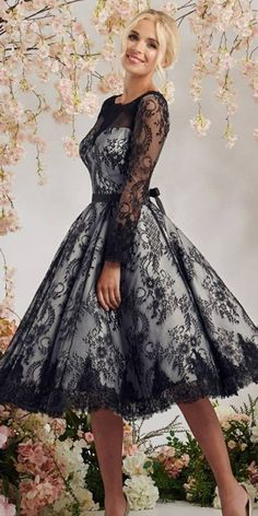 24 Black Wedding Dresses With Edgy Elegance ❤ black wedding dresses knee length lace modest with white mooshkibridal #weddingforward #wedding #bride Black Wedding Dresses, Wedding Gowns, On Your Wedding Day, All Black, Elegant, Formal, Lace, Fashion, All Black Everything