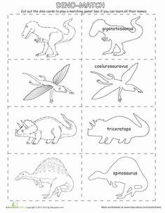 Kindergarten Memory Games Dinosaurs Worksheets: Dino Match Up