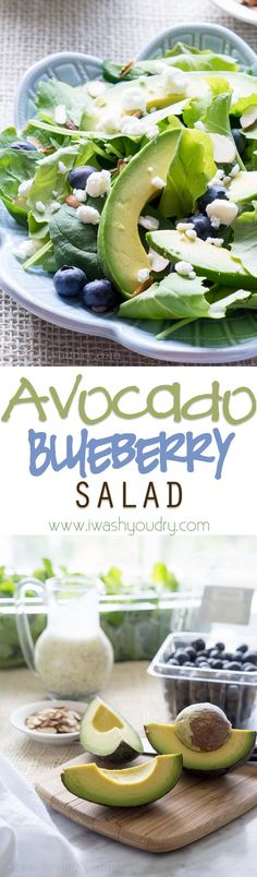 Superfood Avocado Blueberry Salad- Loaded with all the healthy and flavorful favorites is this Superfood Avocado Blueberry Salad! Real Food Recipes, Vegetarian Recipes, Cooking Recipes, Healthy Recipes, Blueberry Salad, Blueberry Recipes, Avocado Recipes, Salad Recipes, Healthy Snacks