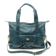 Nest Collins Glazed Leather Diaper Bag in Blue