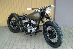 1938 Custom Zöld Harley Davidson WLD Bobber Cafe Racer Special