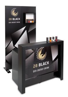 G-Flexx modular mobile bar for promotion with simple backdrop and bottle display.Front parts with digital printed foils.