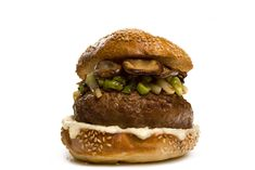 This forager's burger is topped with horseradish mayo and a flavorful sauté of wild mushrooms and sweet onions.