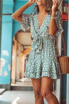 WanaDress Bohemian Dots Mini A Line Dress WanaDress Bohemian Dots Mini A Line Dress Details: Material: Blending . Read more The post WanaDress Bohemian Dots Mini A Line Dress appeared first on How To Be Trendy. Street Style Outfits, Mode Outfits, Casual Outfits, Fashion Outfits, Fasion, Summer Casual Dresses, Dress Fashion, Beachwear Fashion, Blue Dress Casual