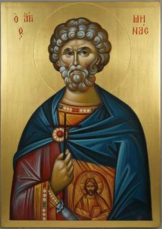 High quality hand-painted Orthodox icon of Saint Menas (engraved halo). BlessedMart offers Religious icons in old Byzantine, Greek, Russian and Catholic style. Byzantine Icons, Byzantine Art, Religious Icons, Religious Art, Paint Icon, Religious Paintings, Orthodox Icons, Christianity, Halo