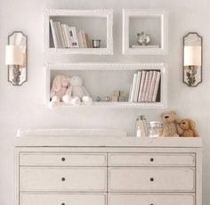 pink, girl's room, baby, chest of drawers, restoration hardware, sconces, shelves, stuffed animals, changing table