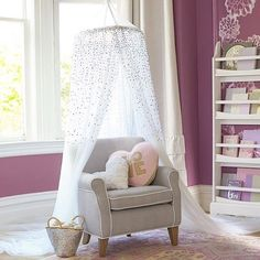PBK #styletip: Hang an airy canopy over a reading chair to create a special nook that kids can call their own! (Click bio link to shop) #readingnook #comfycozy
