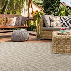 Patio Ideas Indoor Outdoor Area Rugs, Outdoor Rooms, Outdoor Furniture Sets, Outdoor Decor, Home Goods Store, Online Home Decor Stores, Vinyl Rug, Floor Rugs, Colorful Rugs