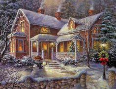 Thomas Kinkade Christmas Time Cross Stitch Pattern***L Christmas Desktop, Christmas Scenes, Victorian Christmas, Christmas Music, Vintage Christmas Cards, Christmas Wallpaper, Country Christmas, Christmas Pictures, Winter Christmas