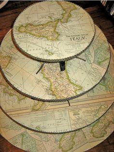 DIY Map Cupcake Stand