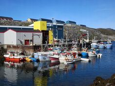 Fishing boats tied up at the port of Nuuk, Greenland.
