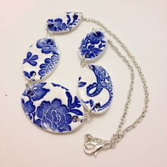 Faux China Statement Necklace, Stamped Painted Polymer Clay, Blue & White Oval Bead Jewelry