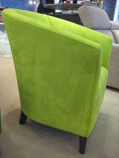 Zingy green faux suede worked really well on our classic tub chair commissioned for a colour confident customer. Bespoke Sofas, Cushion Filling, Tub Chair, Sofa Bed, Recliner, Confident, Cribs, Accent Chairs, British