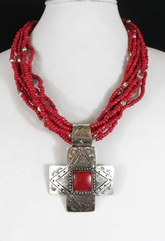 Cowgirl Bling Red Coral Bead Santa Fe SILVER CROSS BOHO Southwest Gypsy necklace #Unbranded #BEADED