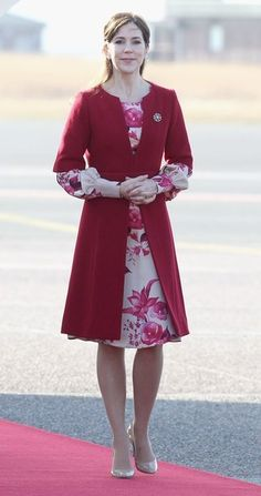 Princess Mary of Denmark waits to greet Prince Charles, Prince of Wales at Copenhagen Kastrup Airport on March 24, 2012 in Copenhagen, Denmark.