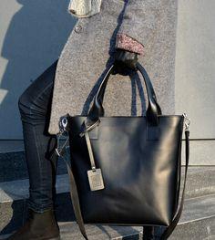 CHLOE duża torba ze skóry naturalnej, czarna - BAGS4JOY - Torebki damskie