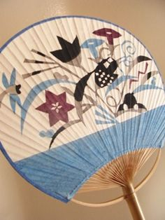 Japanese Round Fan Festival UCHIWA Bamboo Paper Kimono Yukata Hand Held Chic Red
