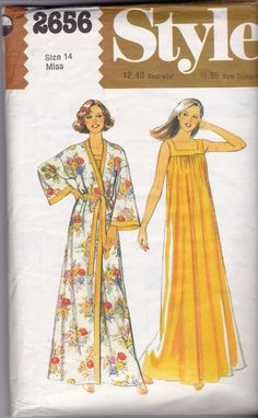 Style 2656 Vintage 80s Sewing Pattern Maxi Nightdress & Kimono Robe Size 14 Bust 36 inches