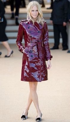 Burgundy raincoat.
