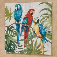 Parrots in Paradise Canvas Wall Art Multi Bright gemalt Parrots in Paradise Tropical Canvas Wall Art Glass Wall Art, Wall Art Decor, Canvas Wall Art, Wall Art Prints, Window Glass, Parrot Painting, Jolie Photo, Wall Art Designs, Wall Design