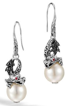 New John Hardy 'Naga - Lava' Dragon and Pearl Drop Earrings,New Blue fashion online. [$595]newoffershop win<<