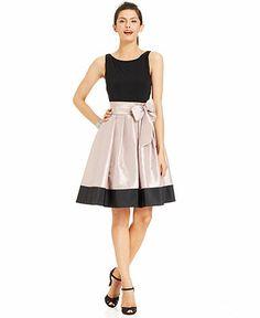 Dress, SL Fashions Sleeveless Pleated Side Bow Dress, Macy's